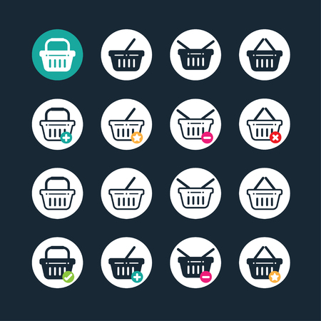 basket icon: Shopping basket icon set with buy, add, remove and favorite signs Illustration