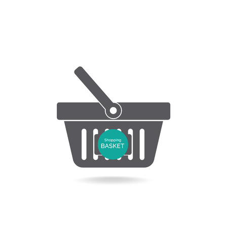 commercial sign: Grocery shopping basket with label for adding text - vector icon