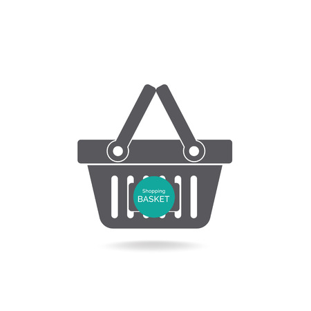 adding: Grocery shopping basket with label for adding text - vector icon