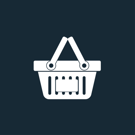 dark blue: White shopping basket vector icon on dark blue background Illustration