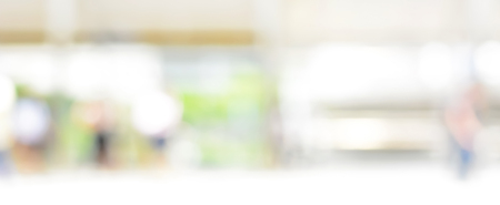 Blur white green abstract background from kitchen window, panoramic banner