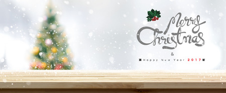 xmas background: Merry Christmas and Happy New Year 2017 table top background - can be used for display or montage your products Stock Photo