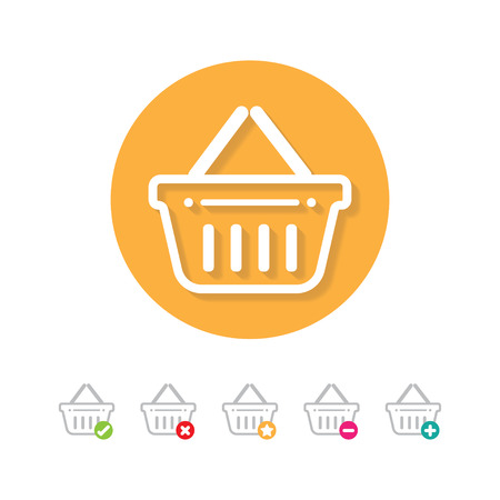 Grocery shopping basket icon set with buy, add, remove and favorite signs