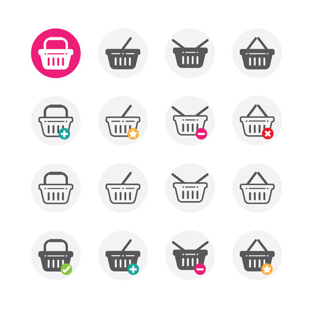 buy icon: Shopping basket icon set with buy, add, remove and favorite signs Illustration