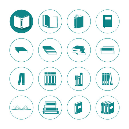 magazine stack: Green book vector icon set in circles Illustration