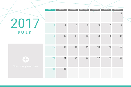 organiser: July 2017 calendar with space for your pictures