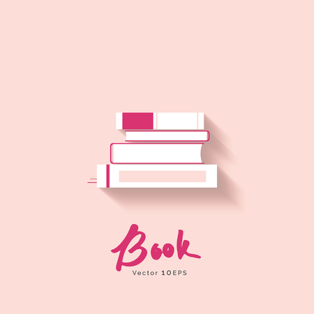 magazine stack: Stack of book vector icon on pastel pink background