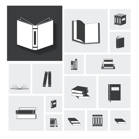 magazine stack: Book vector icon set Illustration