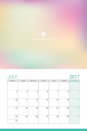 calendario julio: De julio de 2017 calendario con espacio para su foto