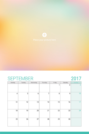 sep: September 2017 calendar with space for your picture Illustration