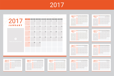 twelve: 2017 calendars with space for your pictures, twelve month set