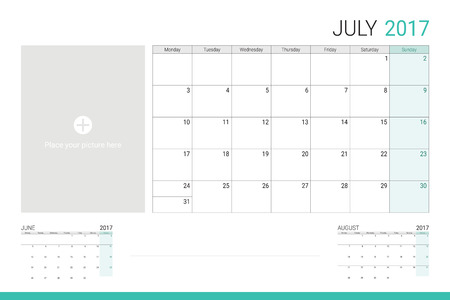 taking notes: July 2017 calendar with space for picture and lines for taking notes Illustration