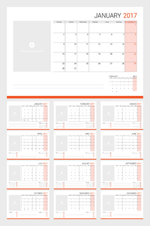 planners: 2017 calenders (or desk planners) with space for pictures and memo lines, 12 month set