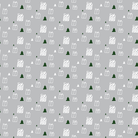 gift pattern: Gift box and Christmas tree pattern on light gray background, for gift wrapping paper Illustration