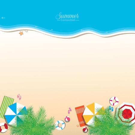 다채로운 여름 해변, 상위 뷰 일러스트