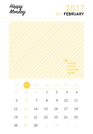 2017 Febuary calendar with space for your picture