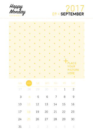 sep: 2017 September calendar with space for your picture Illustration