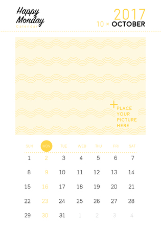 calendar october: 2017 October calendar with space for your picture