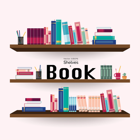 magazine stack: Bookshelves with colorful books and stationery on pastel pink wall background Illustration
