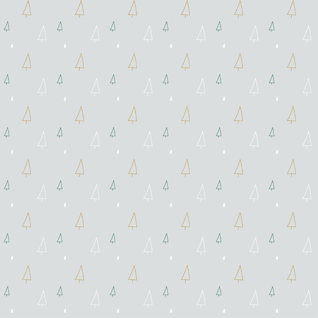 gift pattern: Christmas tree, outline drawing, pattern on light gray background for gift wrapping paper Illustration