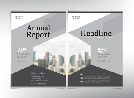 business space: Modern business cover pages, vector template with space for your pictures, gray theme - can be used for annual report, flyer, brochure, leaflet and more