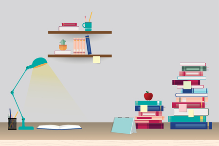 pile of books: Stack of books and stationery on table and shelves - education concept