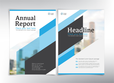 Modern business cover pages, vector template, blue theme - can be used for annual report, flyer, brochure, leaflet and more Çizim