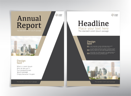 business space: Modern business cover pages, vector template with space for your pictures - can be used for annual report, flyer, brochure, leaflet and more Illustration
