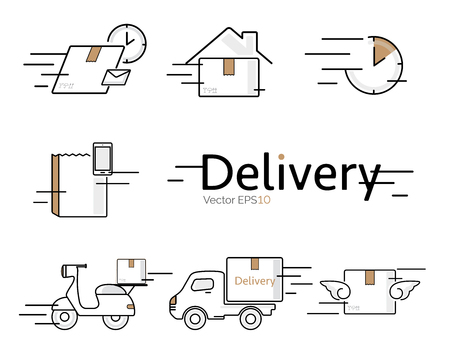 Delivery vector icon set.