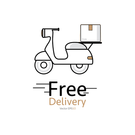 Motorcycle delivery vector icon on white background. Vectores
