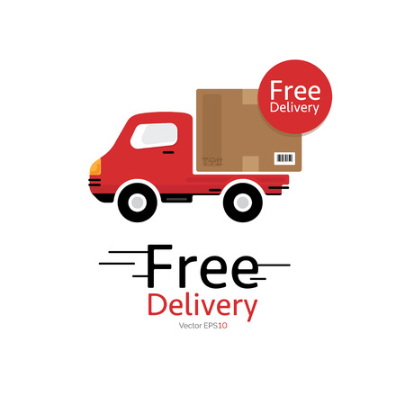 package deliverer: Red delivery car (truck) vector icon with Free Delivery sign, on white background.