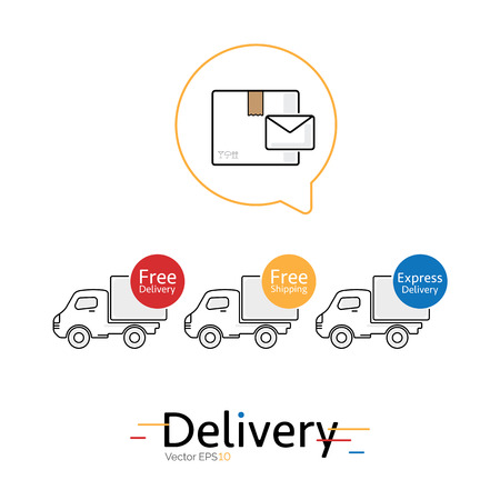 package deliverer: Mail and delivery car vector icons on white background.