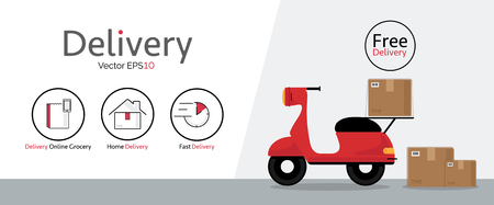 Delivery vector icons with motorcycle. Illustration