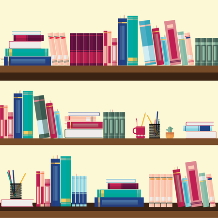 Bookshelves With Colorful Books And Stationery Royalty Free Cliparts ...