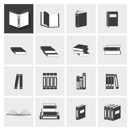 Book vector icon set on light gray background