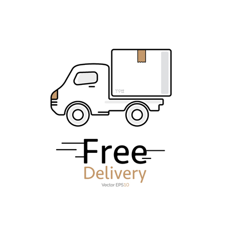 package deliverer: Delivery car vector icon with Free Delivery message