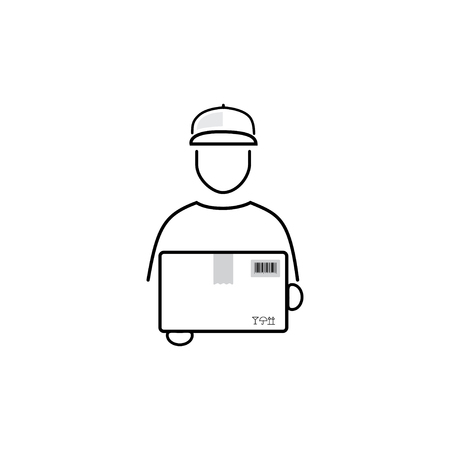 package deliverer: Delivery man minimalist vector icon on white background