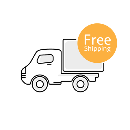 package deliverer: Delivery car vector icon with Free Shipping sign