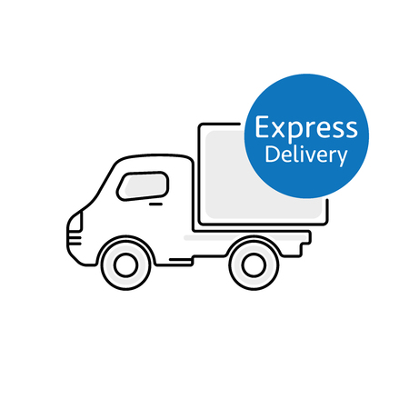 package deliverer: Delivery car vector icon with Express Delivery sign Illustration