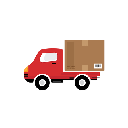 package deliverer: Red delivery car vector icon on white background Illustration
