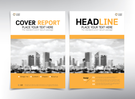 cover page: Modern business cover page, vector template, white and yellow theme - can be used for annual report, flyer, brochure, leaflet and more