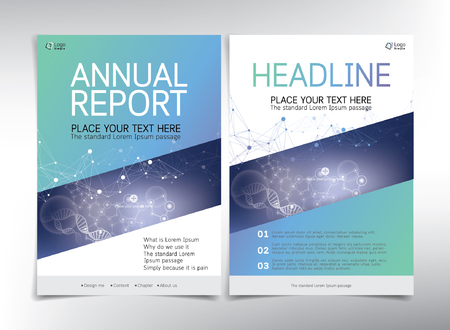 biological: Modern gradient blue green cover page vector template, medical and biological theme - can be used for annual report, flyer, brochure, leaflet and more