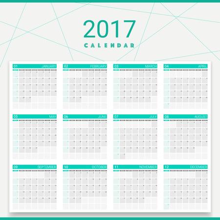 weekly: 2017 calendar (or desk planner), 12 month set