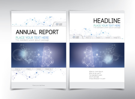 biological: Modern medical and biochemical cover page, vector template - can be used for annual report, flyer, brochure, leaflet and more