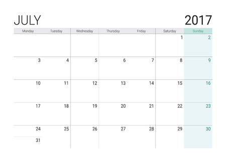 weekly: 2017 July calendar (or desk planner), week start on Monday