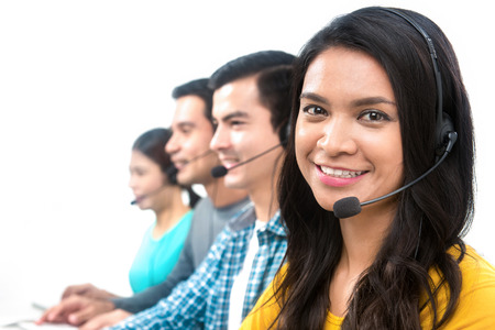 Operator team in call center Stock Photo