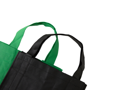 Reusable grocery shopping bags on white background with copy space Banco de Imagens