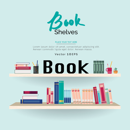 text books: Colorful books and stationery on bookshelves in light blue background with space for text
