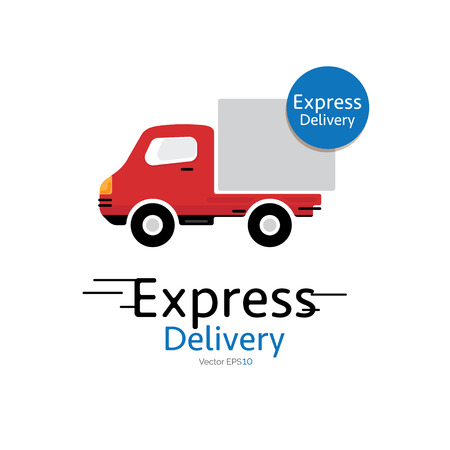 deliverer: Delivery car vector icon with Express Delivery sign Illustration