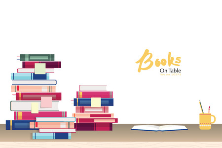 bookish: Stack of books and stationery on study table - education concept